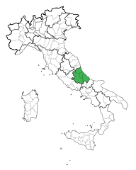 Map showing the Abruzzo region of Italy