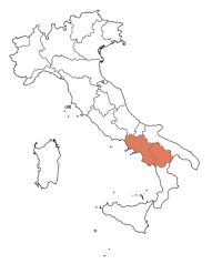 Map showing the Basilicata and Campania regions