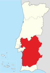 Map showing the Alentejo region of Portugal.