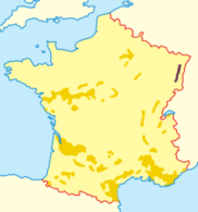 Map showing the Alsace regiion of France
