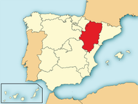 Map showing modern-day Aragón.