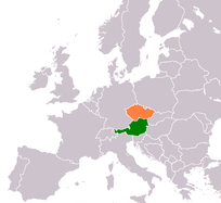 Map showing Austria and the Czech Republic