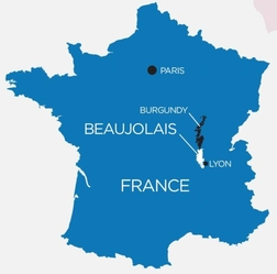 Map showing the Beaujolais region of France