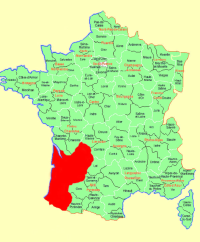 Map showing the Bordeaux region of France