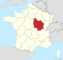Map showing the Burgundy region of France
