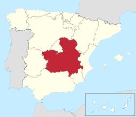 Map showing the Castilla-La Mancha region of Spain.