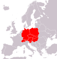 Map showing central Europe
