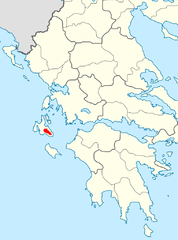Map showing Cephalonia in Greece
