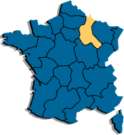 Map showing the Champagne region of France