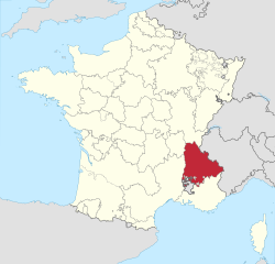 Map showing the Dauphiné region of France.