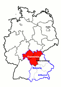 Map showing the Franconia region of Germany