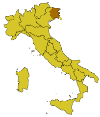 Map showing the Friuli regon of Italy.