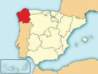 Map showing the Galicia province of Spain