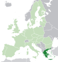 Map of Europe showing Greece