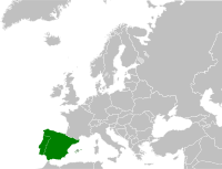 Map showing the Iberian peninsula