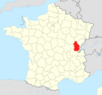 Map showing the Jura region of France