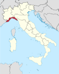 Map showing the Liguria region of Italy