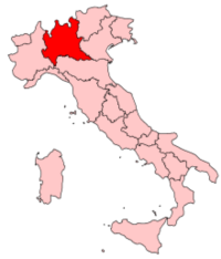 Map showing the Lombardy region of Italy