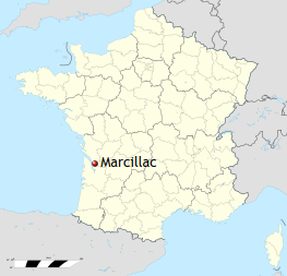 Map showing the Marcillac region of France.