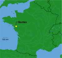 Map showing Nantes, home of Muscadet wines