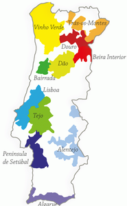 Map showing the wine regions of Portugal