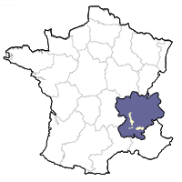 Map showing the Rhone Valley region of France.