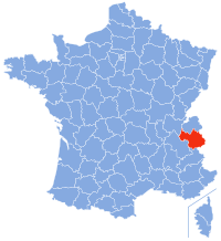 Map showing the Savoy region of France
