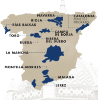 Map showing Spanish wine regions