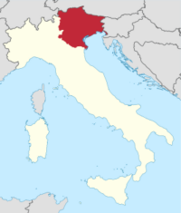 Map showing the Triveneto region of Italy