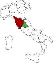 Map showing the Tuscany and Umbria regions of Italy