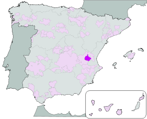 Map showing the Utiel-Requena region of Spain.